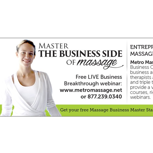 Create a banner ad with text and photo to attract Massage Therapists.