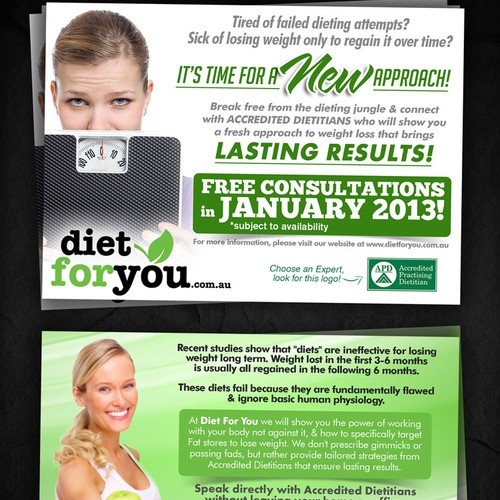 New postcard or flyer wanted for Diet For You