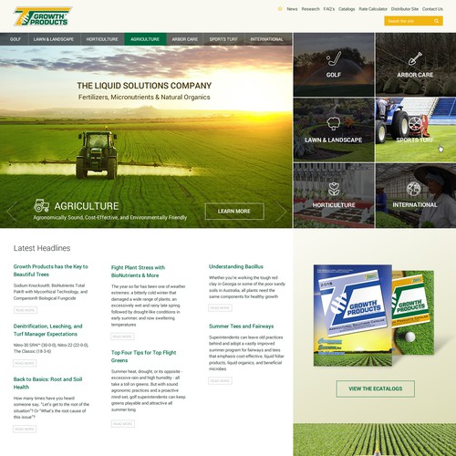 Home page design for agriculture company