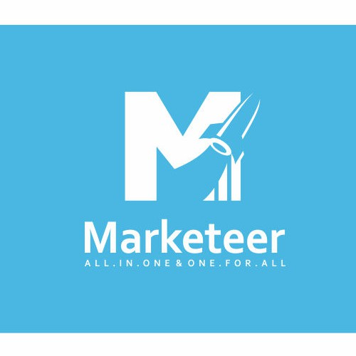 "Logo for Marketeer, convey the ""Rocketeer concept"""