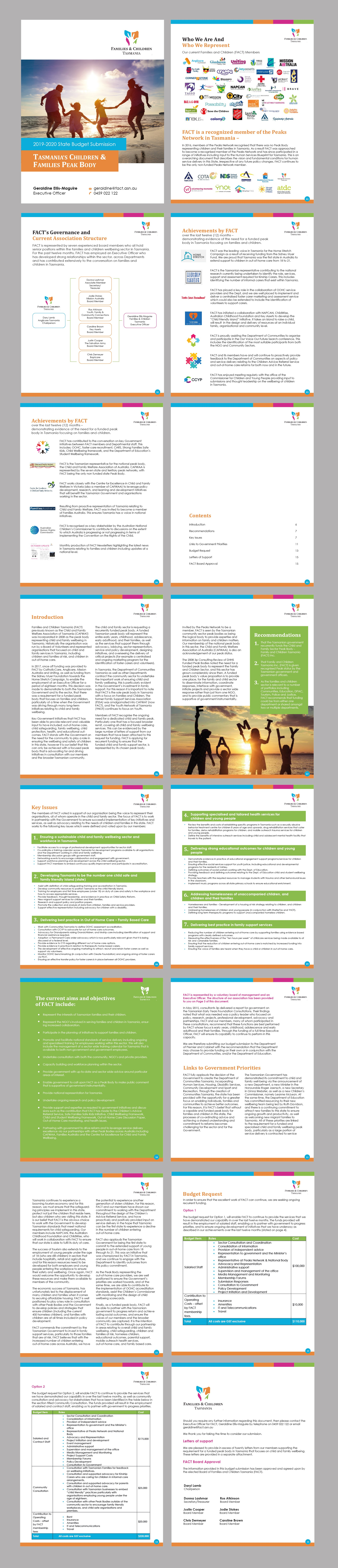 Desktop Publishing of a 15 page budget submission for the Tasmanian State Government