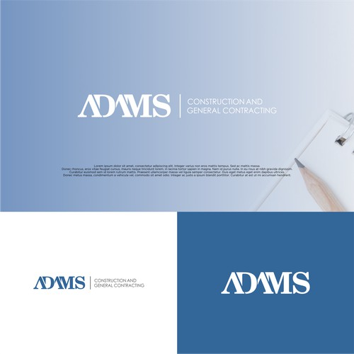 Simple Typeface Logo concept For Adams Construction