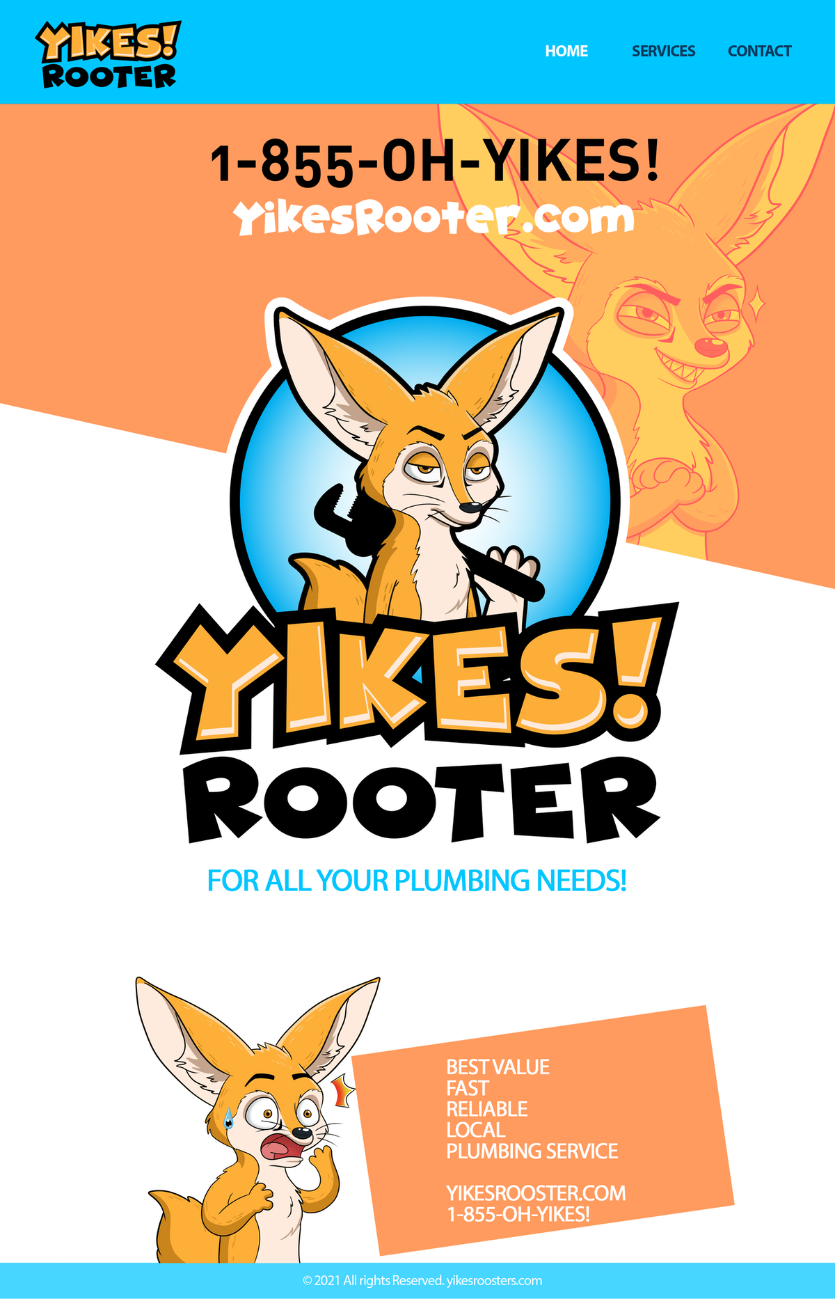 Website design for Yikes Rooter