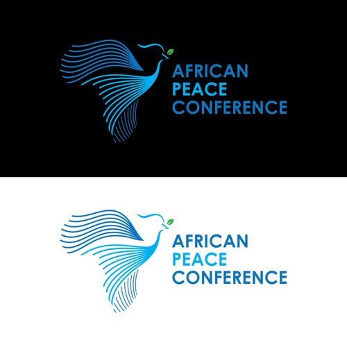 icon incorporating negative space, Africa, a Peace Dove & idea of coalition/community