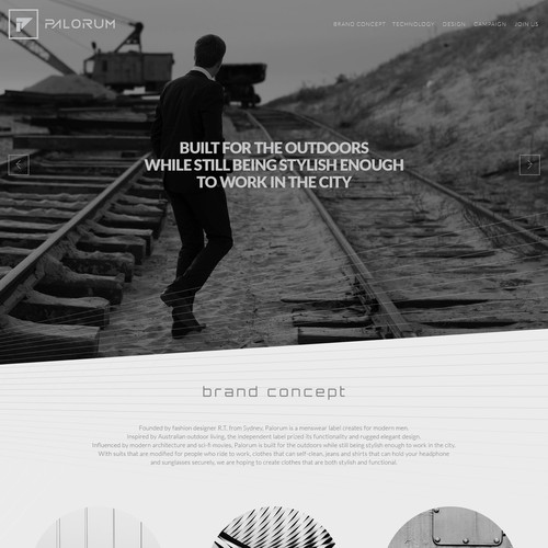 Homepage for clothing startup