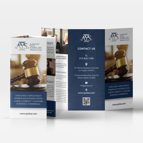 Design a modern, sleek brochure for a Los Angeles based law firm