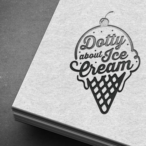 logo for a beautiful vintage ice cream van
