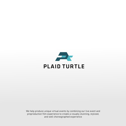 logo concept of PLAID TURTLE a cinematic-driven virtual event production