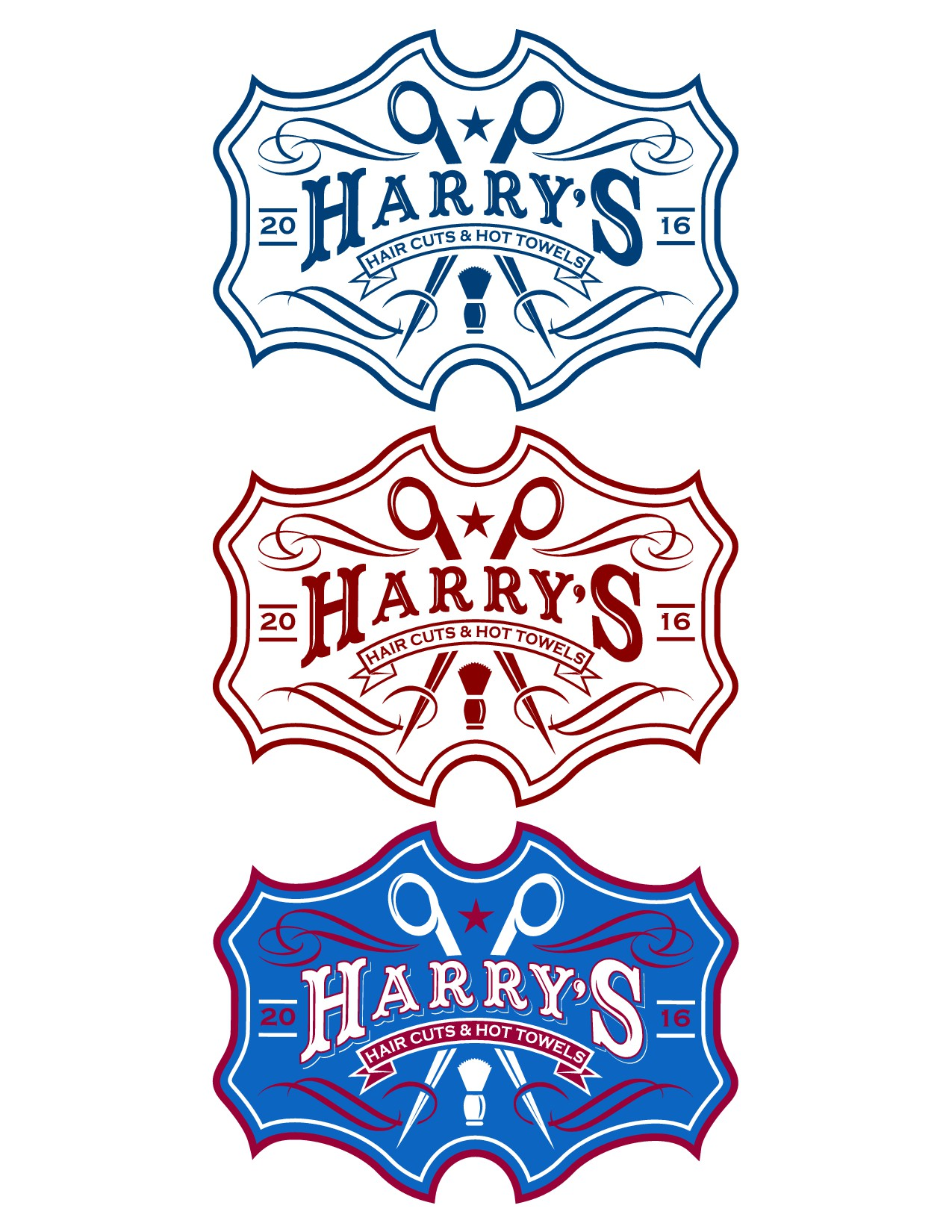 Create a logo for Harry's Haircuts and Hot Towels