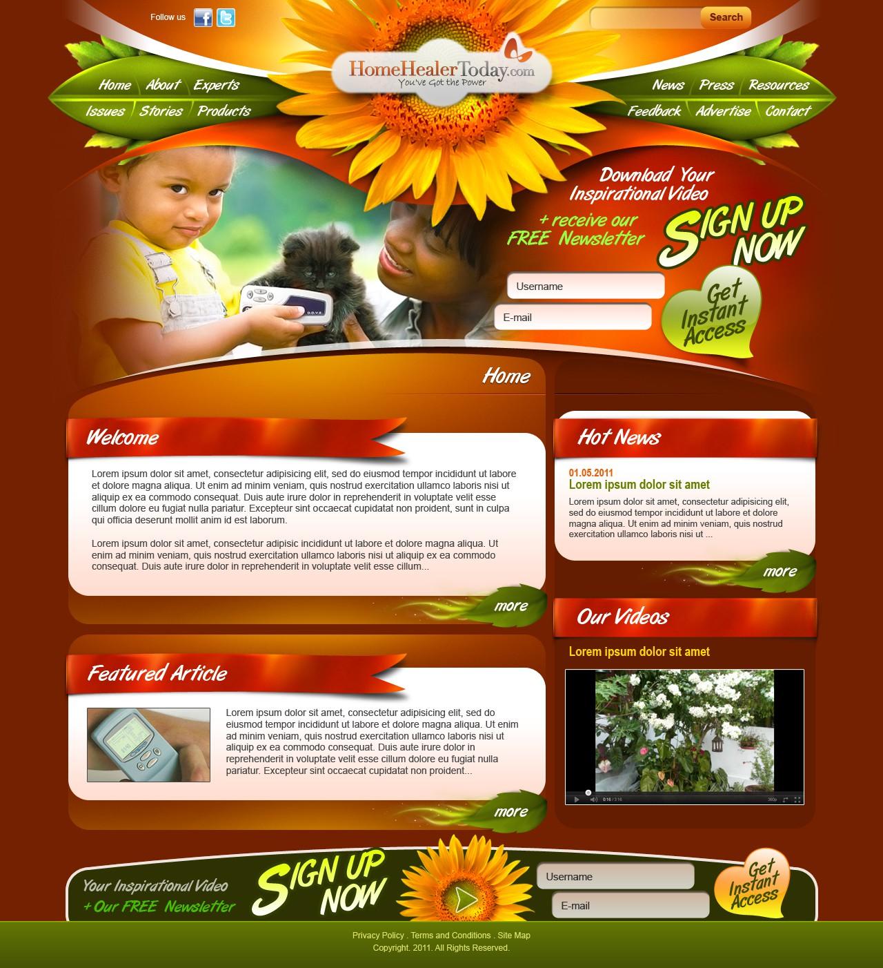 HealthBoss needs a new website design and, eventually, a newsletter template