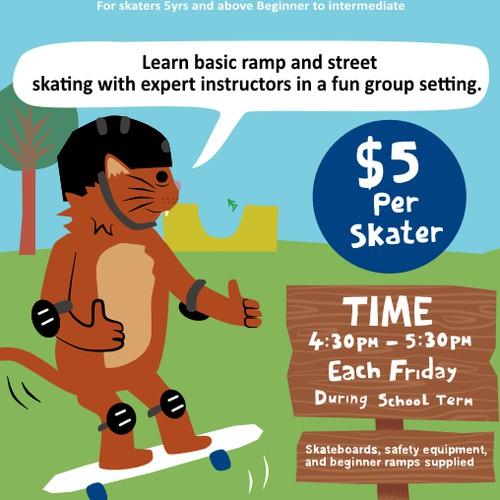 Children's Poster For Skateboarding Lessons