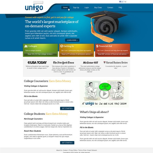 Homepage design for Unigo (Unigo.com)