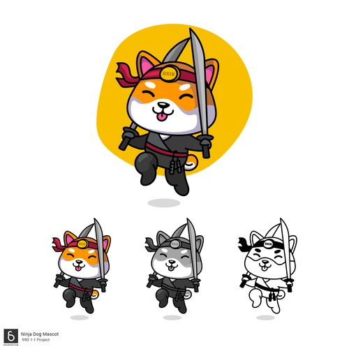Kawaii Ninja Dog mascot