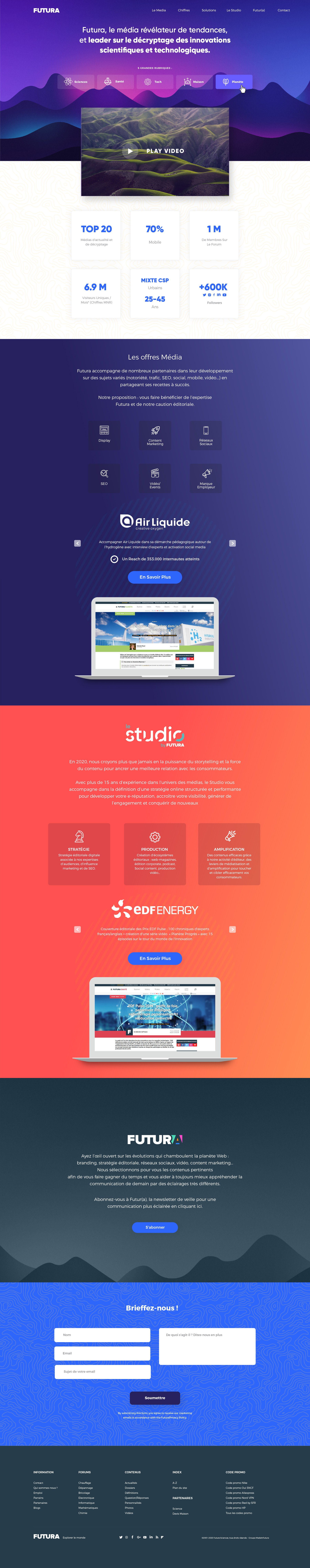 Innovative landing page for a leading science website!
