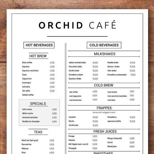 Orchid cafe menu