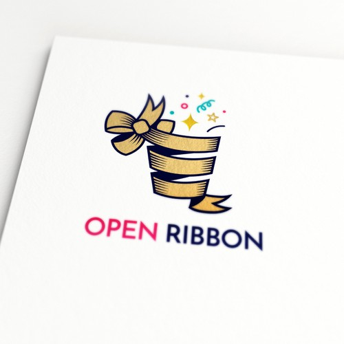 A Fun Logo for OpenRibbon, a company that delivers packages with happy hours to offices to liven up their culture