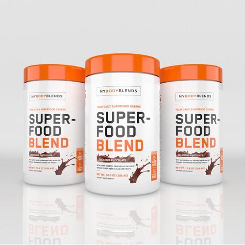 Label design for Superfood Blend supplement