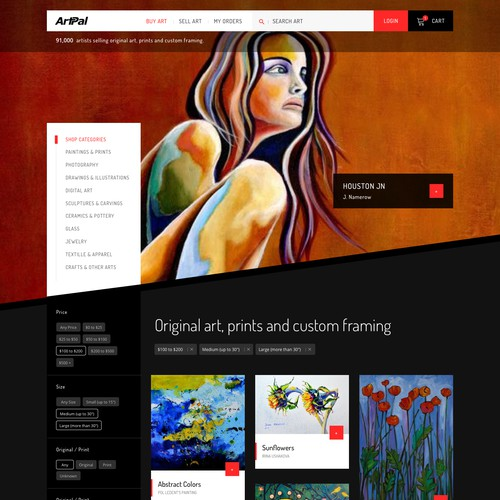 Dark theme for online art gallery