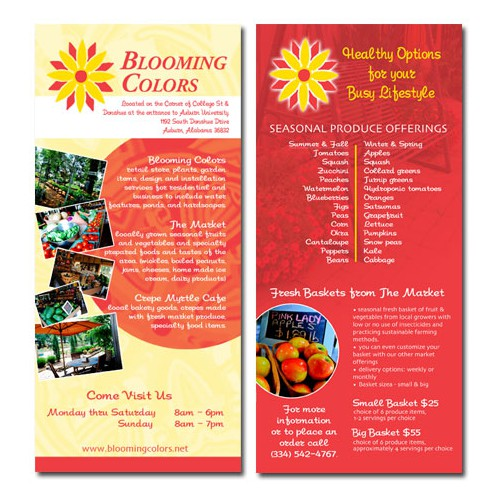 Rack Card for Market of Locally Grown