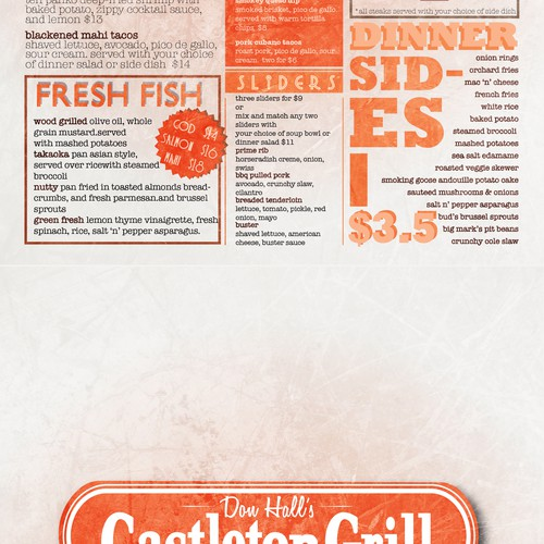 Castleton Grill menu design/layout