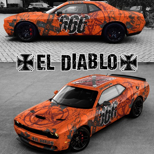 Custom wrap for 2017 Dodge Challenger Hellcat