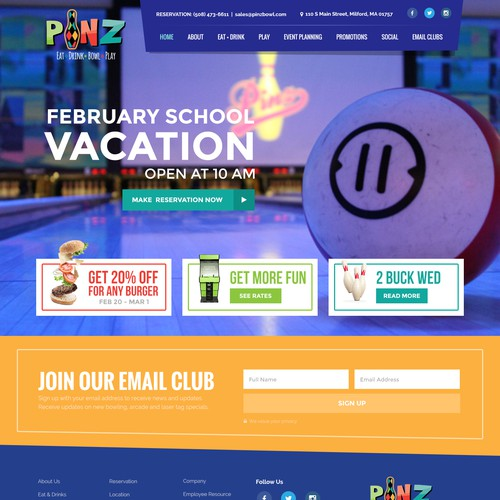 Website for Bowling Alley
