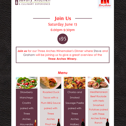 three arches winery dinner invitation