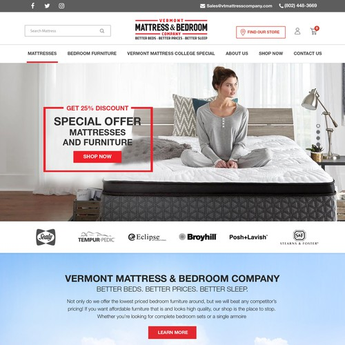 Website for Leading Mattress - Vermont