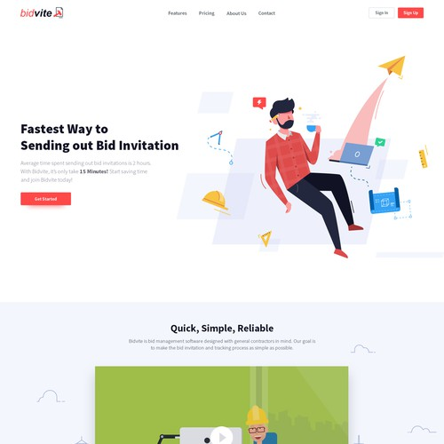 Landing Page Design for Bidvite
