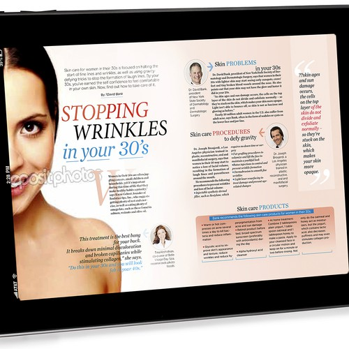 Magazine design for Perfect Skin Magazine