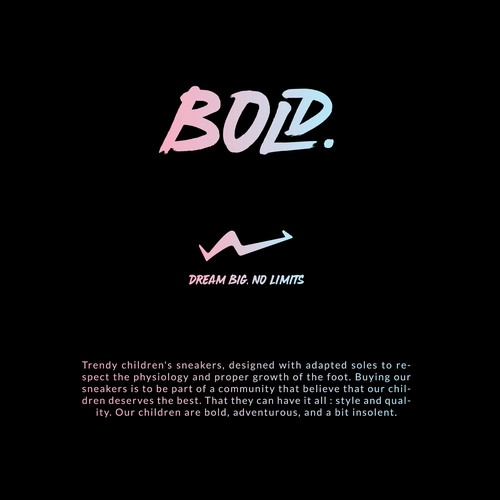 Strong and bold logo for a brand of trendy sneakers for children