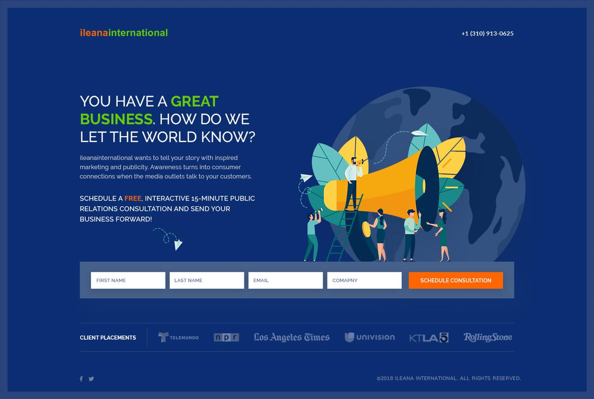 Ileana International Landing Page