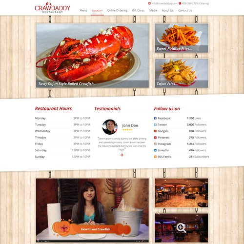 Create Crawdaddy's new Restaurant Website!