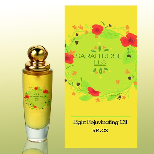 Eye catching yet still subtle Cosmetic oil Label
