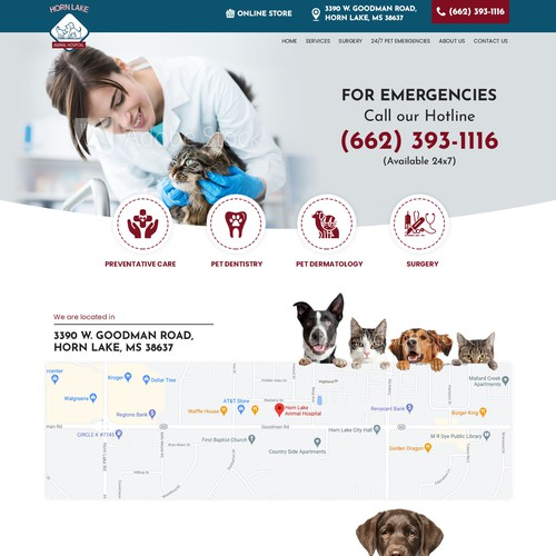 Landing Page Design for an Emergency Services Veterinary Hospital