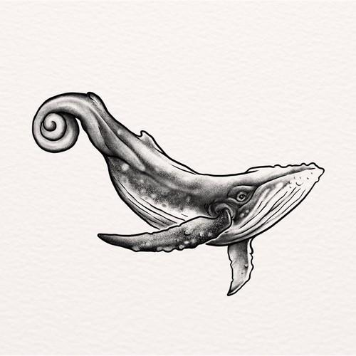 Whale and Cochlea Tatto