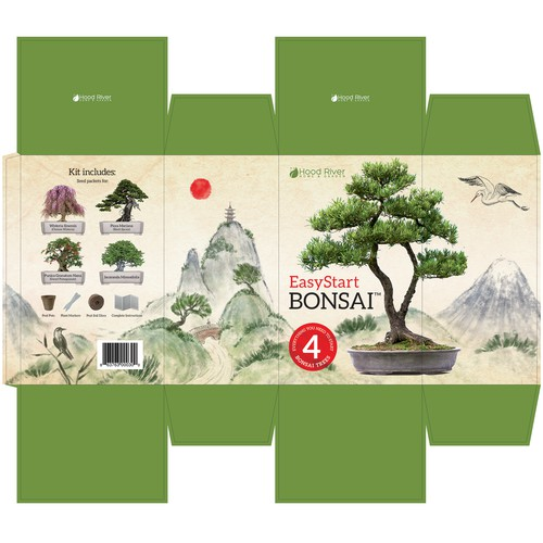 Bonsai kit box packaging design with custom hand drawn illustration.