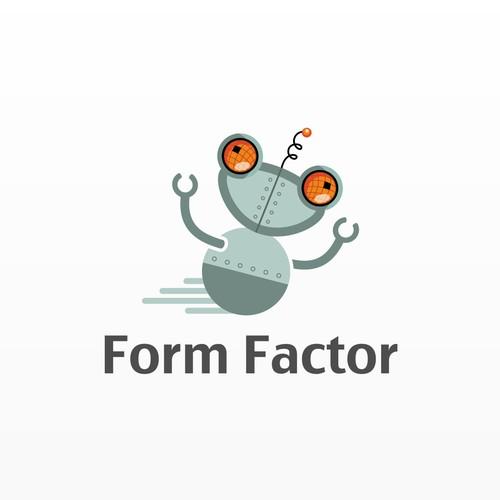 Cartoonish logo concept for a robot
