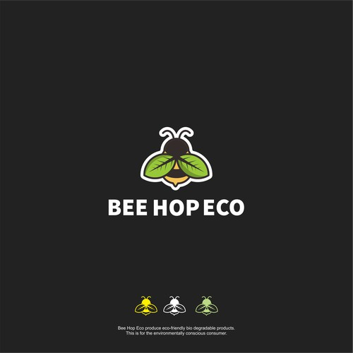 bee hop eco logo concept