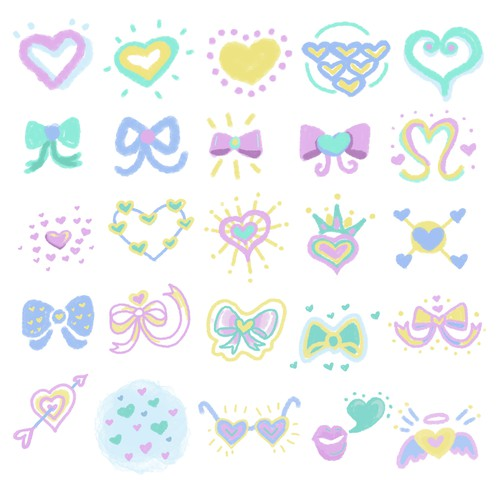 Cute Heart and Ribbon design set for a Stylish Photo Editing App