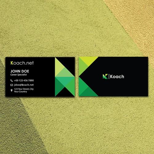 Landscape/Horizontal Business Card concept for Koach.net