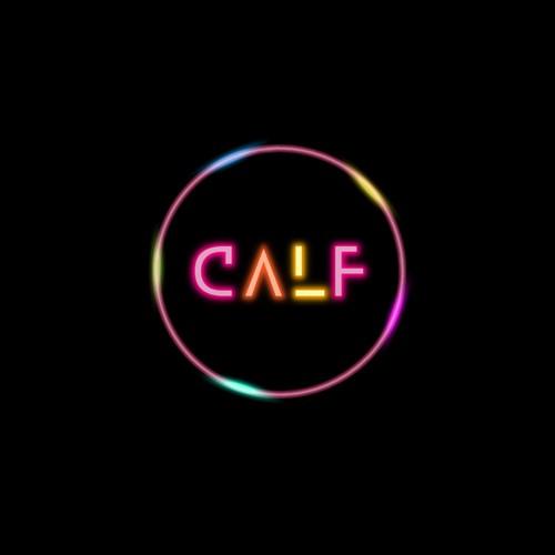Retro-futuristic neon logo design for a contemporary music duo