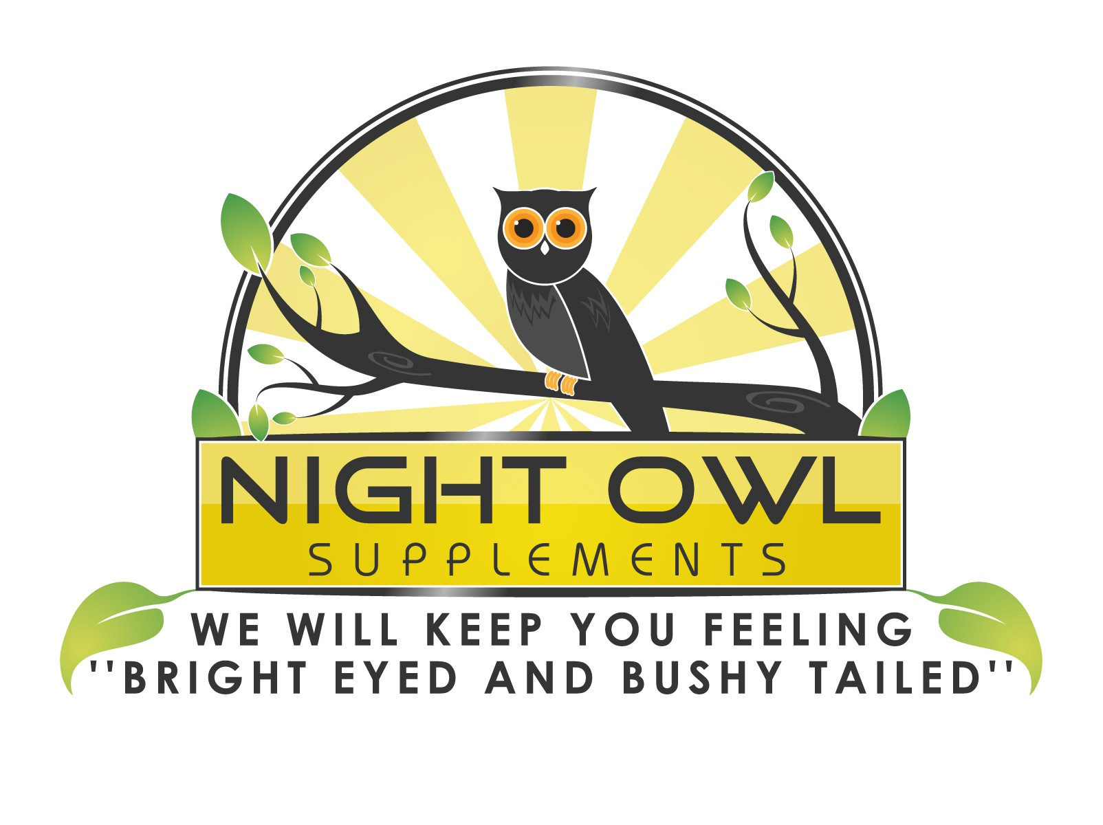 Create a logo with a tree, a small owl, and displaying the tagline.
