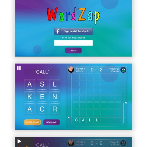 Game UI design for a word puzzle game