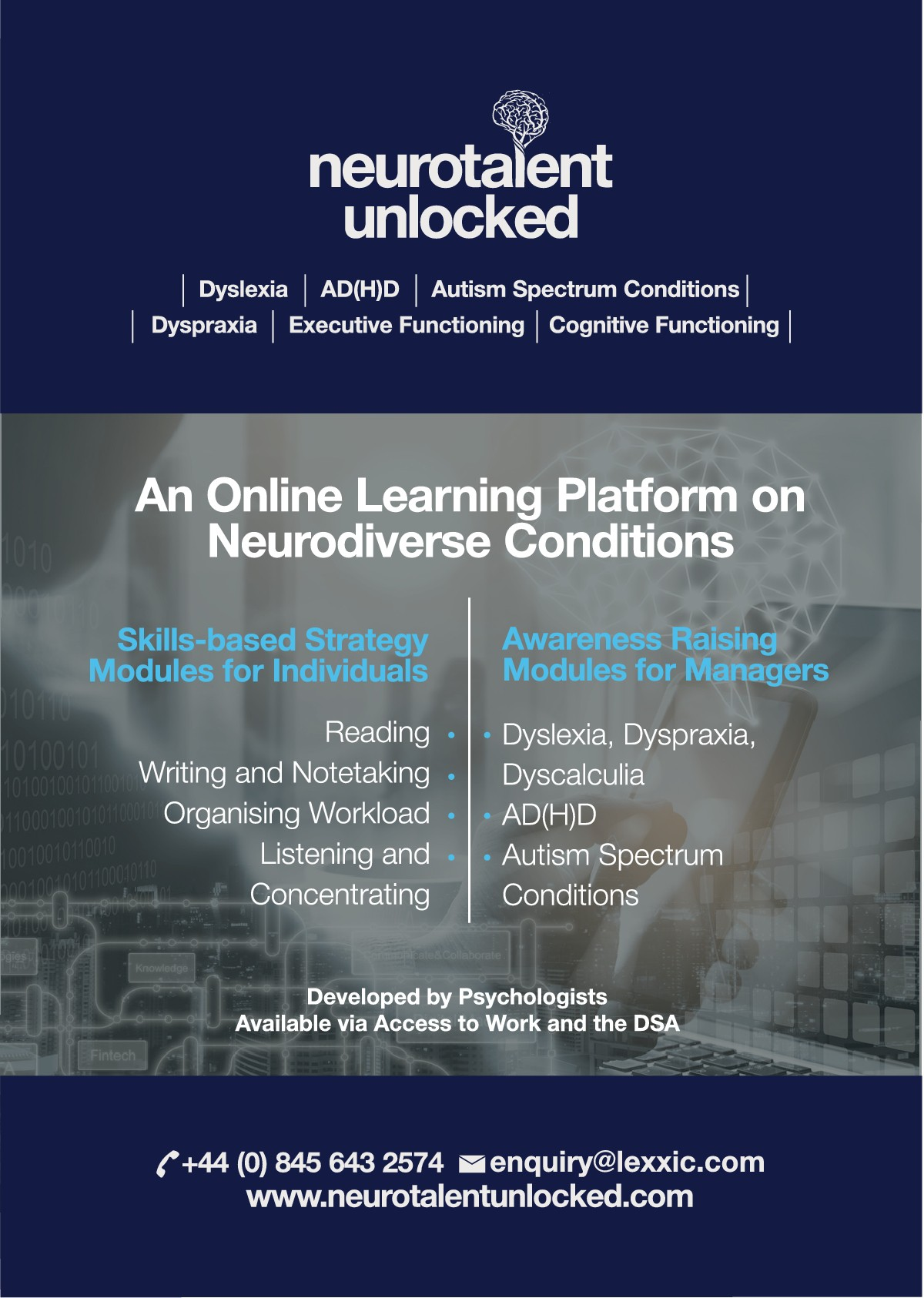 Update our Neurotalent Unlocked Flyer to a two-sided version