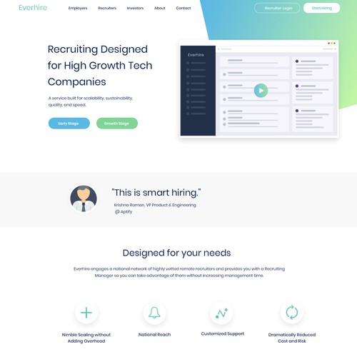 startupy website design for Everhire