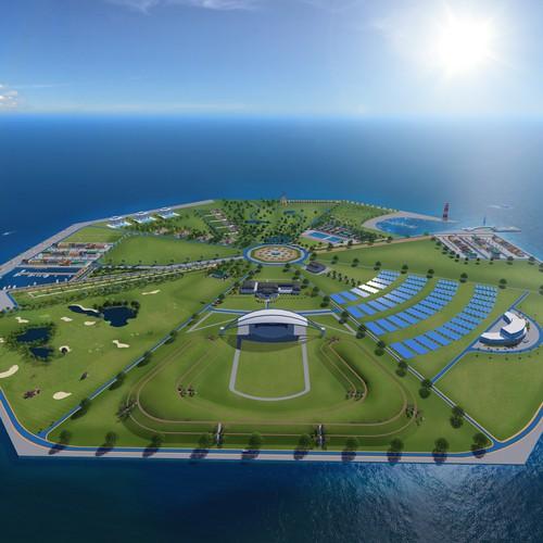 3D render of island