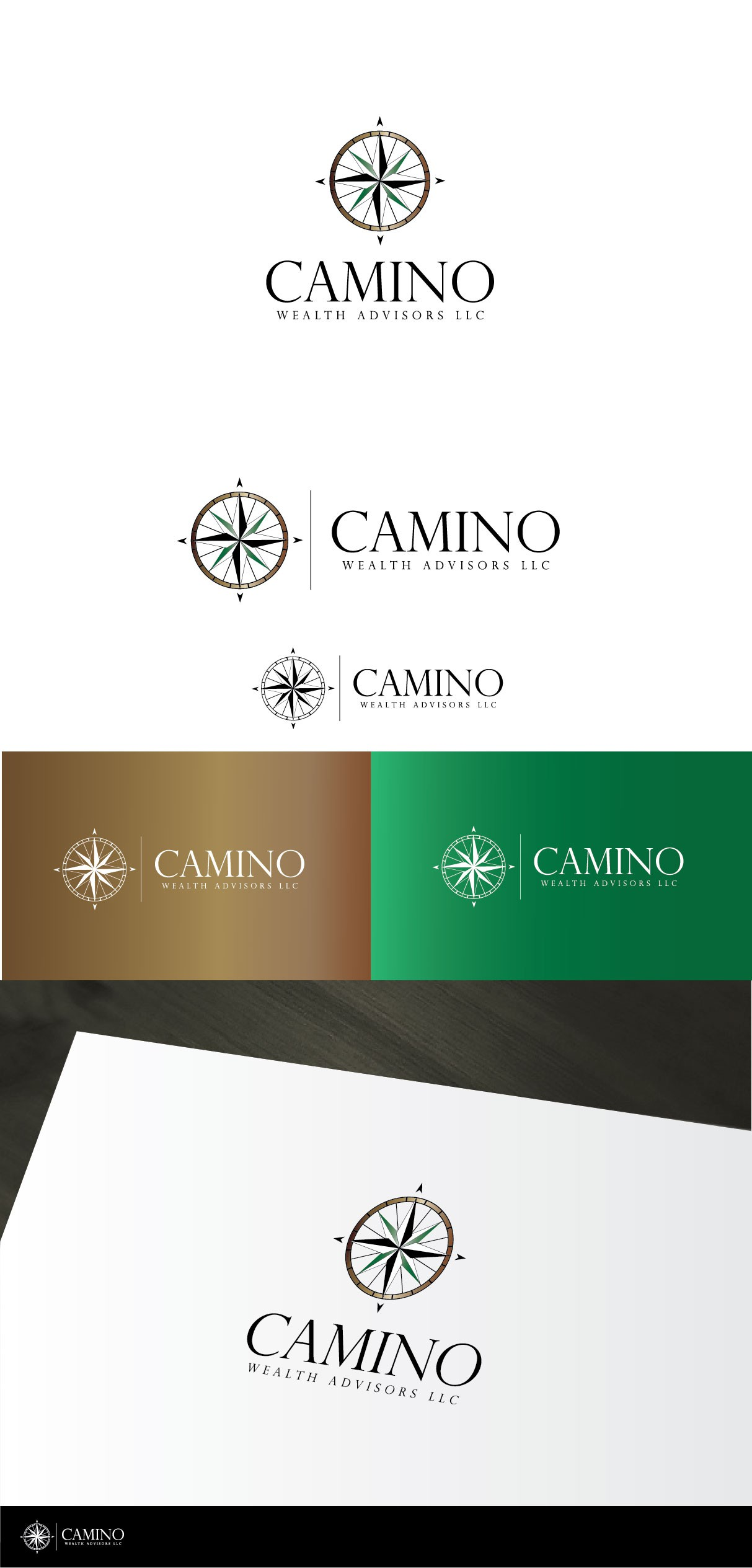 Create a classic elegant compass rose logo for Camino Wealth Advisors (financial planning firm)