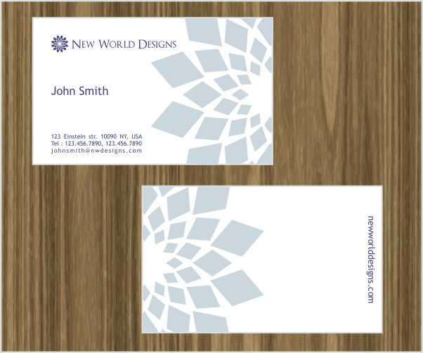 Create the next logo and business card for New World Designs