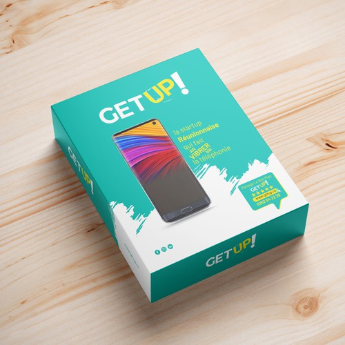 Awesome Full color print with flat design for Getup smartphone boxes in Reunion!